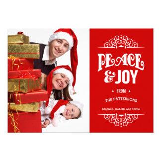 Vermelho do cartão com fotos | do feriado do Natal Convites