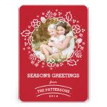Vermelho do cartão com fotos | dos cumprimentos da convite personalizados