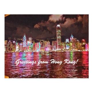 Vermelho do cartão da skyline de Hong Kong