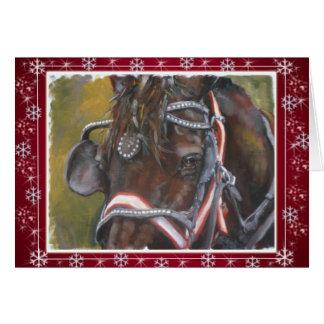 Vermelho do cartão de Natal de Percheron