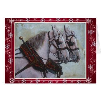 Vermelho do cartão de Natal do cavalo de esboço de