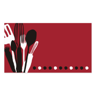 vermelho do cartão de visita da restauração do coz