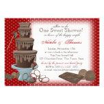 Vermelho do chá de panela da fonte do chocolate convite personalizados