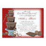 Vermelho do chá de panela da fonte do chocolate convite 12.7 x 17.78cm