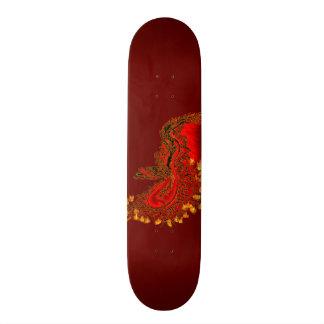 Vermelho do dragão de China e design do ouro Shape De Skate 18,4cm