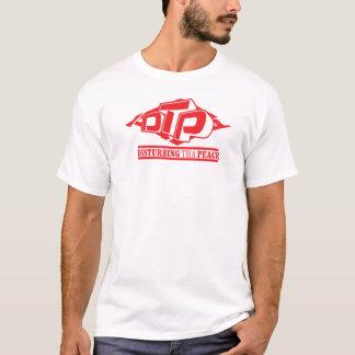 Vermelho do DTP no t-shirt preto das senhoras Camiseta