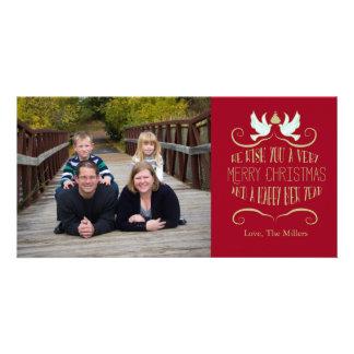 Vermelho do feliz ano novo do Feliz Natal da pomba Cartão Com Foto