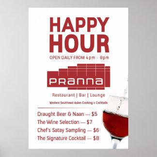 Vermelho do isqueiro do poster do happy hour de Pr