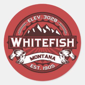Vermelho do logotipo do peixe branco adesivos redondos