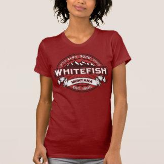 Vermelho do logotipo do peixe branco tshirts