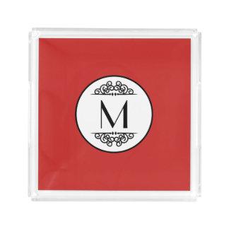 Vermelho do monograma do vintage - bandeja