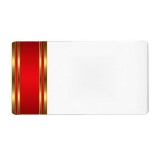 Vermelho do ouro da etiqueta do nome de etiqueta d