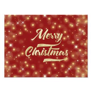 Vermelho do ouro de Bokeh do brilho do Feliz Natal Impressão De Foto