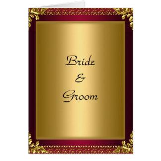Vermelho do ouro do convite do cartão de casamento