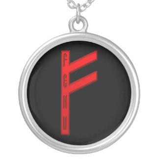 Vermelho do Rune de Fehu Colar Banhado A Prata