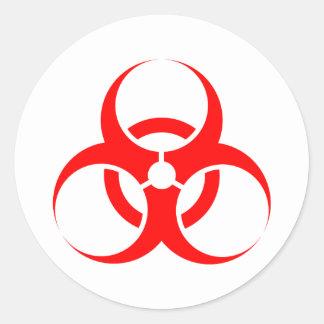 Vermelho do símbolo do Biohazard Adesivos Em Formato Redondos