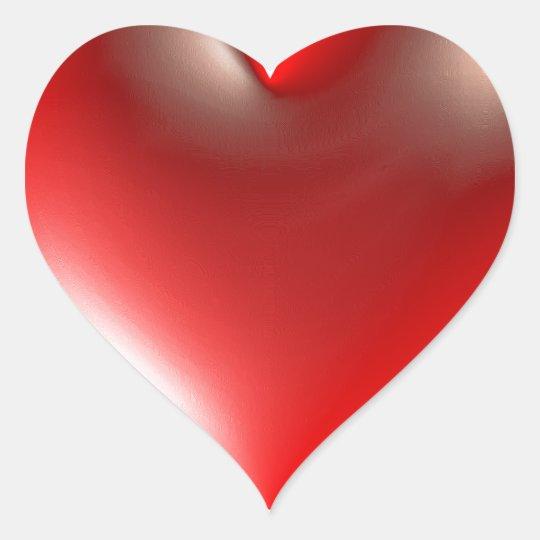 vermelho do símbolo do coração do estilo 3D Adesivo Coração
