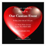 vermelho do símbolo do coração do estilo 3D Convite Personalizados