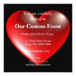 vermelho do símbolo do coração do estilo 3D Convite Quadrado 13.35 X 13.35cm