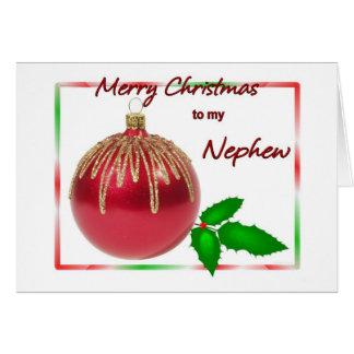 Vermelho do sobrinho do Feliz Natal e bola do ouro Cartão Comemorativo
