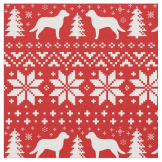 Vermelho do teste padrão do Natal dos Retrievers Tecido