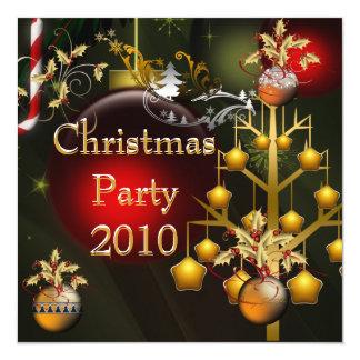 Vermelho do Xmas do ouro da festa de Natal do Convite Quadrado 13.35 X 13.35cm