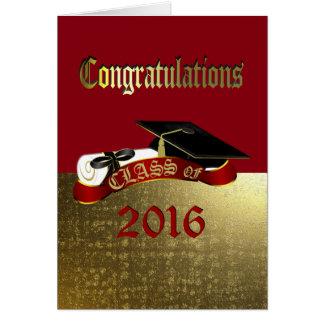 Vermelho dos parabéns e cartão da graduação do