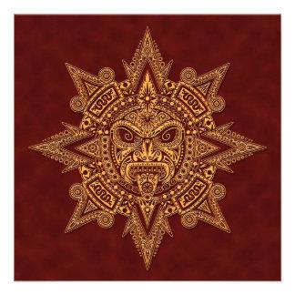 Vermelho dourado da máscara asteca de Sun Convite Personalizados