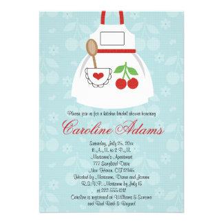 Vermelho e azul do chá de panela do avental da cer convite personalizados