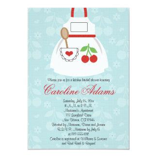 Vermelho e azul do chá de panela do avental da convite 12.7 x 17.78cm