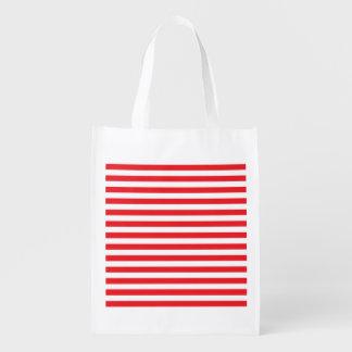 Vermelho e branco listra a bolsa de compra sacolas ecológicas