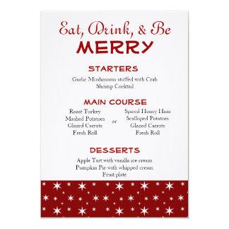 Vermelho e branco Stars o menu do Natal Convite 12.7 X 17.78cm