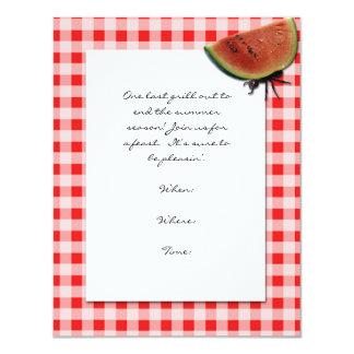 Vermelho e branco verificados e formiga com a convite 10.79 x 13.97cm