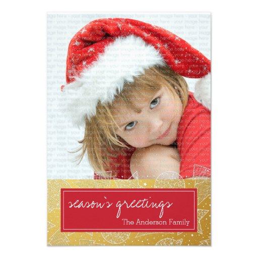 Vermelho e cartão com fotos do feriado do Natal do Convites Personalizado