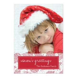 Vermelho e cartão com fotos do feriado do White Convite Personalizado
