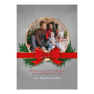 Vermelho e cartões de foto de Natal do ouro