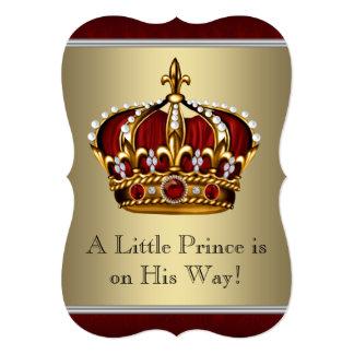Vermelho e chá de fraldas do príncipe Menino do Convite 12.7 X 17.78cm