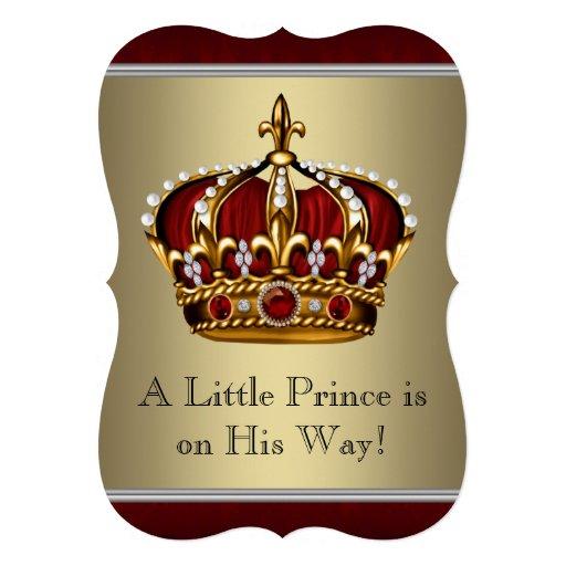 Vermelho e chá de fraldas do príncipe Menino do ou Convites