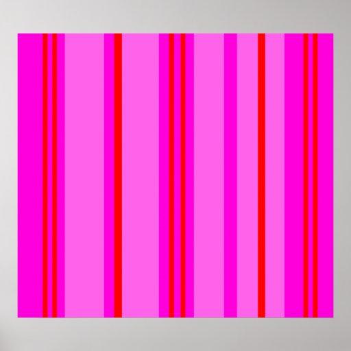 Vermelho e claro modernos - listras cor-de-rosa pôsteres