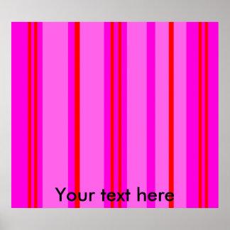 Vermelho e claro modernos - listras cor-de-rosa poster