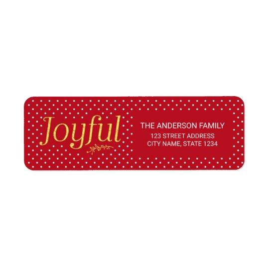 Vermelho e endereço alegre do feriado do ouro do etiqueta endereço de retorno