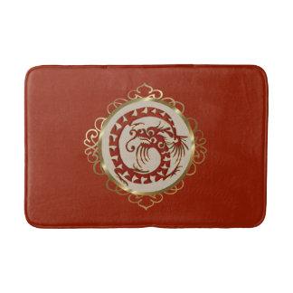 Vermelho e esteira de banho do medalhão do dragão tapete de banheiro