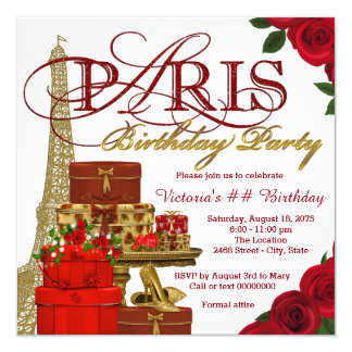 Vermelho e festa de aniversário de Paris do ouro Convite Quadrado 13.35 X 13.35cm