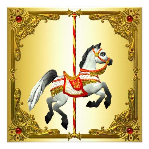 Vermelho e festa de aniversário do cavalo do carro convites
