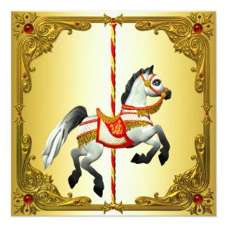 Vermelho e festa de aniversário do cavalo do convite quadrado 13.35 x 13.35cm