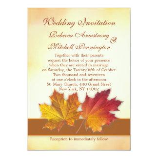 Vermelho e folhas de bordo do ouro que Wedding Convites Personalizado