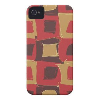 Vermelho e forma geométrica abstrata de Brown Capinhas iPhone 4