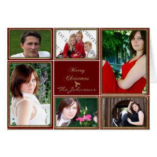 Vermelho e foto do quadro do brilho do ouro cartão comemorativo