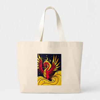 Vermelho e ouro que voam phoenix sacola tote jumbo