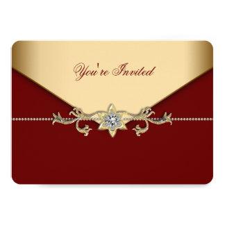 Vermelho e partido incorporado do ouro convite 12.7 x 17.78cm